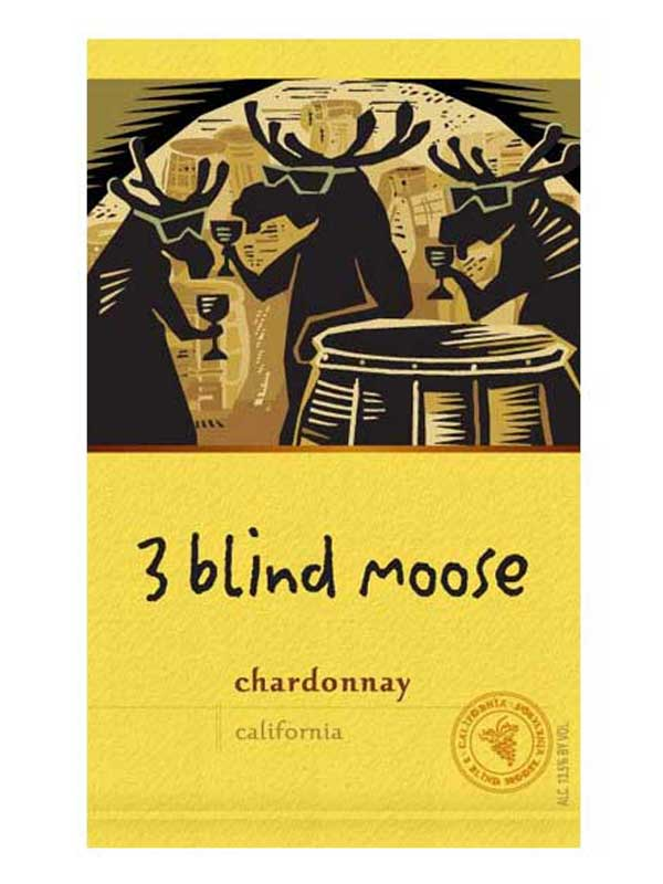 3 Blind Moose Chardonnay 750ML Label