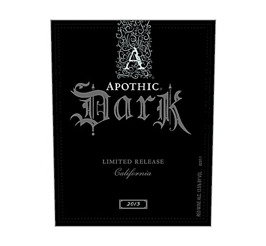 Apothic Dark Red Blend Limited Release 2013 750ML Label