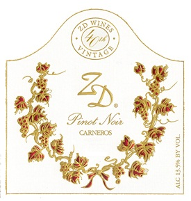 ZD Wines Pinot Noir Carneros 2012 750ML Label