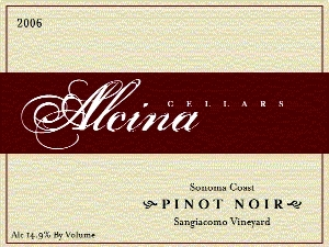Alcina Pinot Noir Sangiacomo Vineyard 2005 750ML