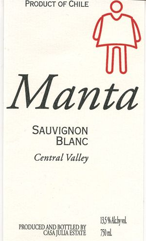 Casa Julia Estates Manta Sauvignon Blanc Central Valley 2014 750ML Label