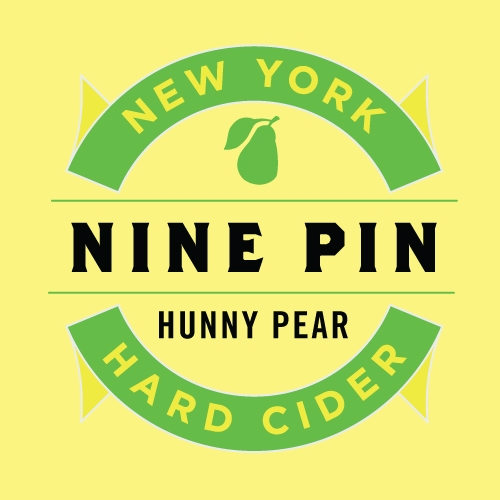 Nine Pin Cider Works Hunny Pear Hard Cider 25oz Label