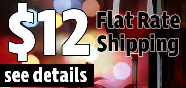 $12 dollar flat rate shipping on cases of wine to 1 day ground shipping states, see details