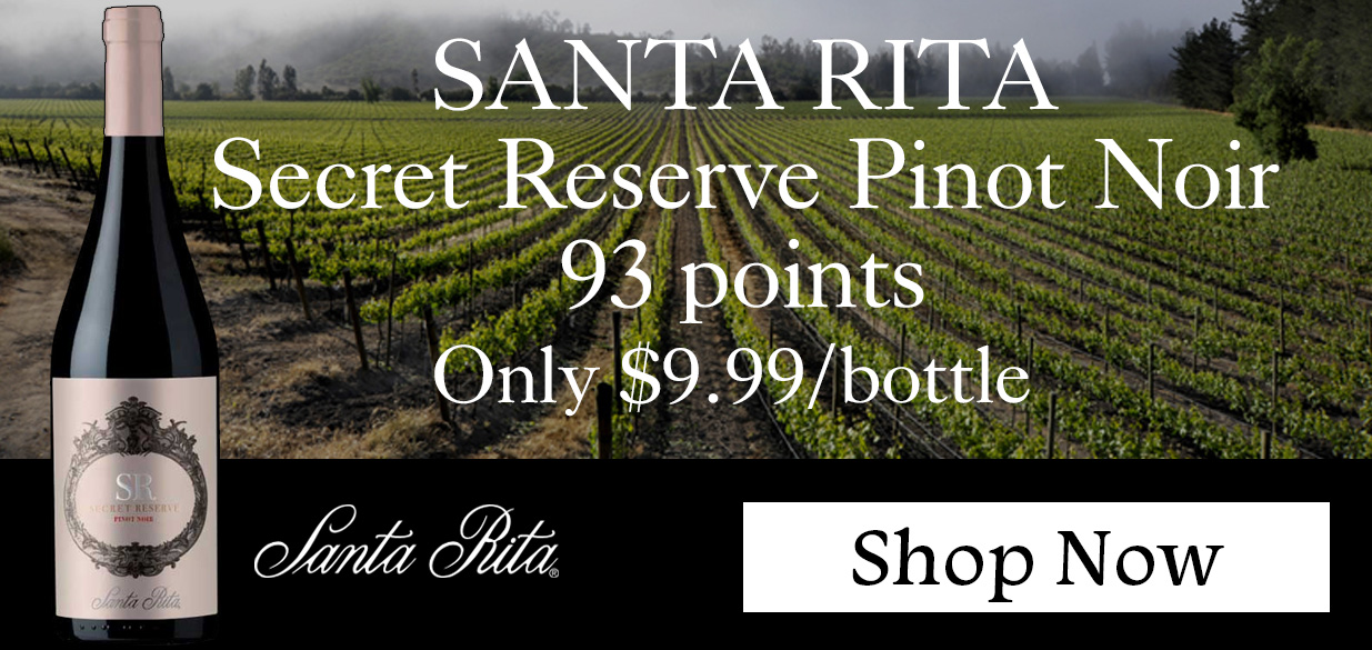 93 Point Pinot Noir! Santa Rita Secret Reserve Pinot Noir Central Valley 2015 750ML