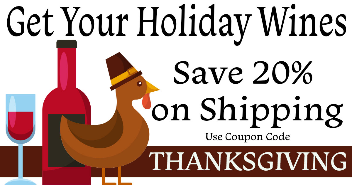 Thanksgiving wine shipping sale at We Speak Wine