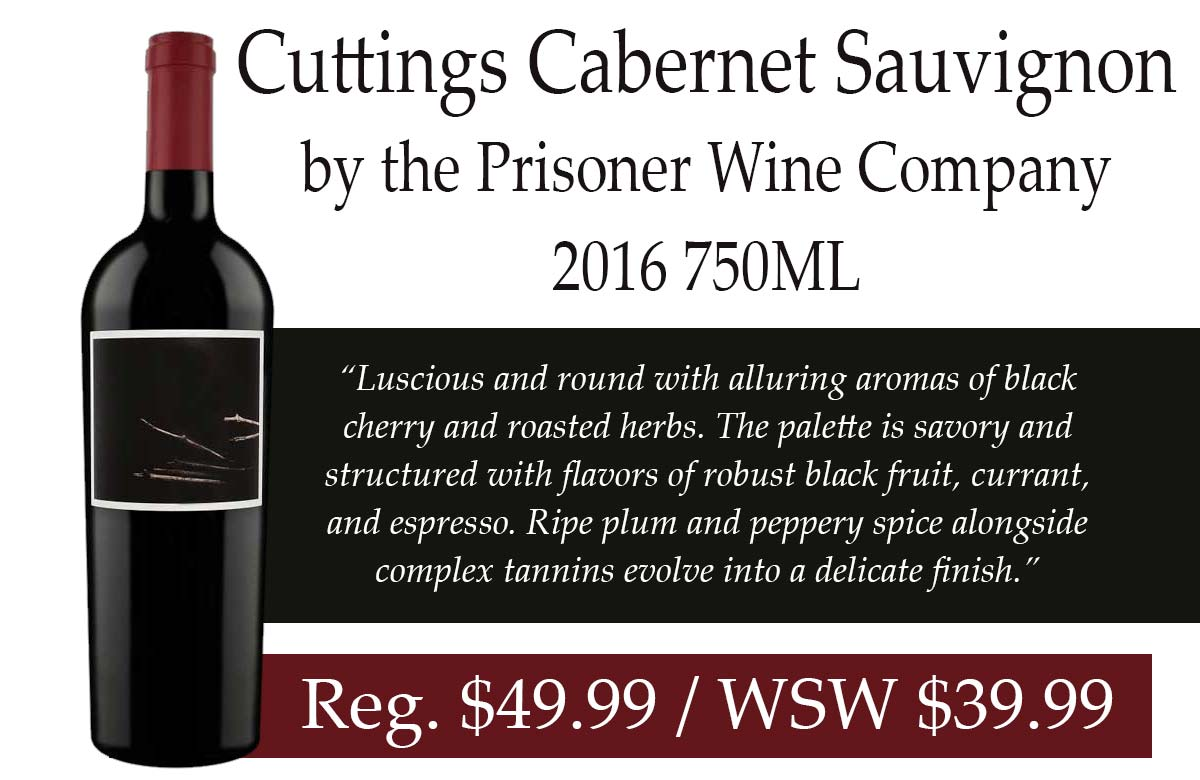 Cuttings Cabernet Sauvignon by the Prisoner Wine Company 2016 750ML