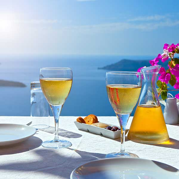 Greek Wine, Table for Two Santorini Greece