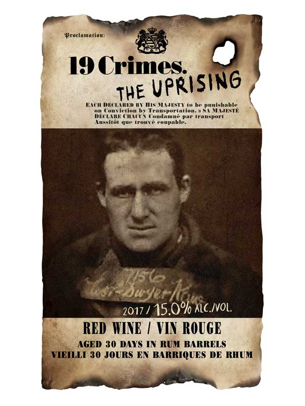 19 Crimes The Uprising Red Wine Aged 30 Days in Rum Barrels South Eastern Australia 2017 750ML Label