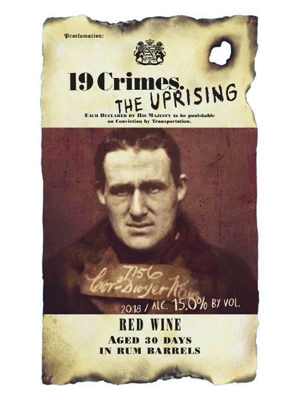 19 Crimes The Uprising Red Wine Aged 30 Days in Rum Barrels South Eastern Australia 2018 750ML Label
