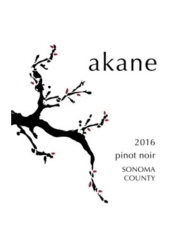 Akane Pinot Noir Sonoma County 2016 750ML Label