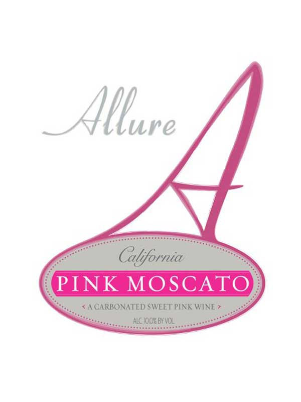 Allure Sparkling Pink Moscato California NV 750ML Label