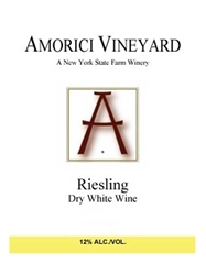 Amorici Vineyard Dry Riesling Hudson Valley 750ML Label
