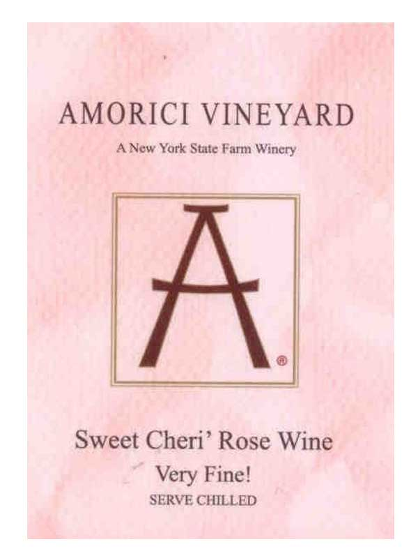 Amorici Vineyard Sweet Cheri Rose Wine Hudson Valley 750ML Label