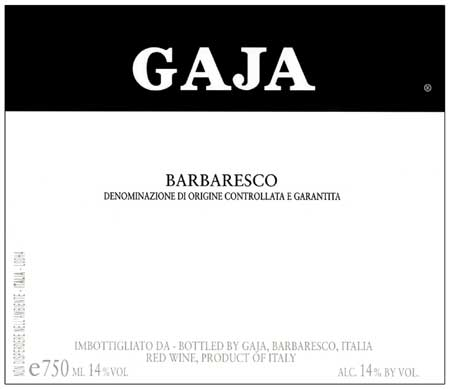 Angelo Gaja Barbaresco Langhe 2011 750ML Label