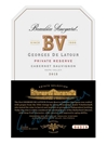 Beaulieu Vineyard (BV) Georges de Latour Cabernet Sauvignon Private Reserve Napa Valley 750ML Label