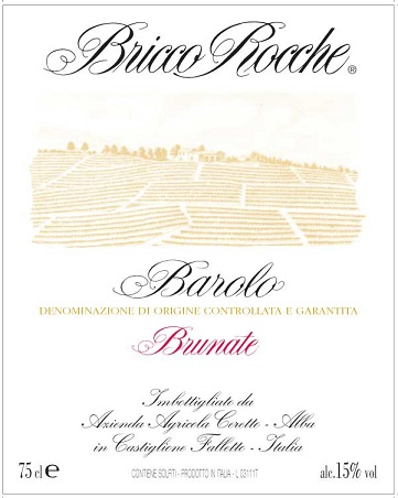Ceretto Bricco Rocche Barolo Brunate Piedmont 2010 750ML Label