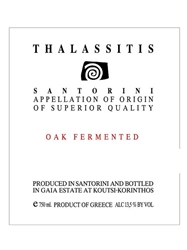 Gaia Thalassitis Oak Fermented White Santorini 2014 750ML Label