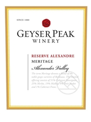 Geyser Peak Winery Meritage Reserve 2000 750ML Label