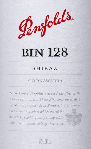 Penfolds Shiraz Bin 128 Coonawarra 2013 750ML Label
