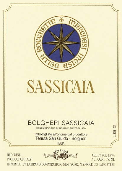 Tenuta San Guido Sassicaia Bolgheri 2011 750ML Label