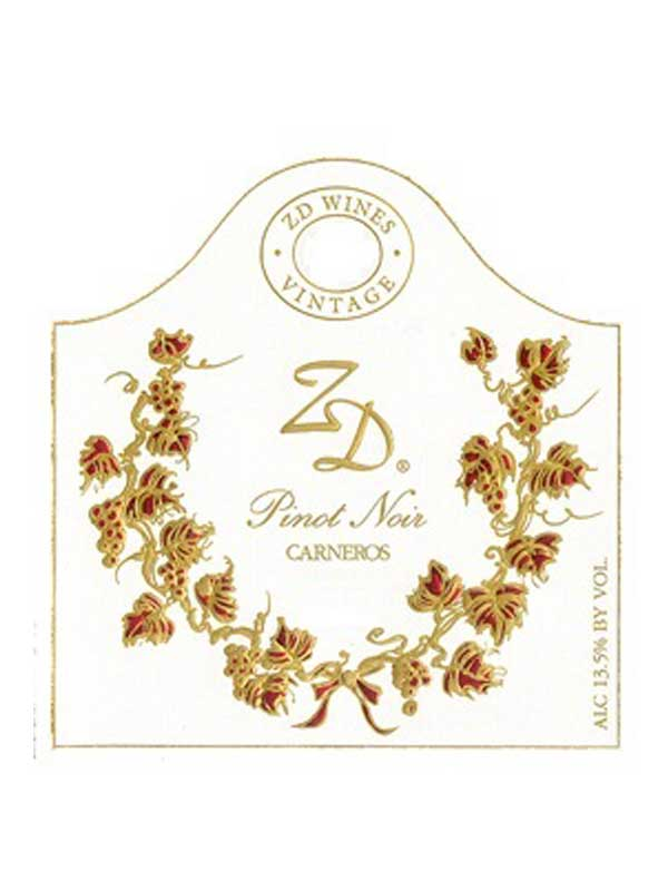 ZD Wines Pinot Noir Carneros 2013 750ML Label