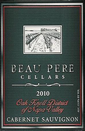 Beau Pere Cellars Cabernet Sauvignon Oak Knoll District Napa Valley 2010 750ML