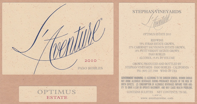 L'Aventure Winery Optimus Paso Robles 2010 750ML - 966531105