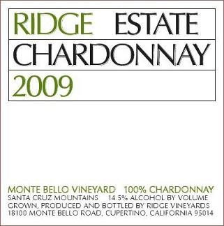 Ridge Estate Chardonnay Santa Cruz Mountains 2009 750ML - 97308193