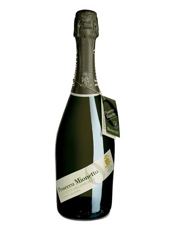 Mionetto Prosecco Extra Dry D.O.C. Made with Organically-Grown Grapes 750ML Bottle